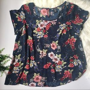 TORRID | navy blue floral top